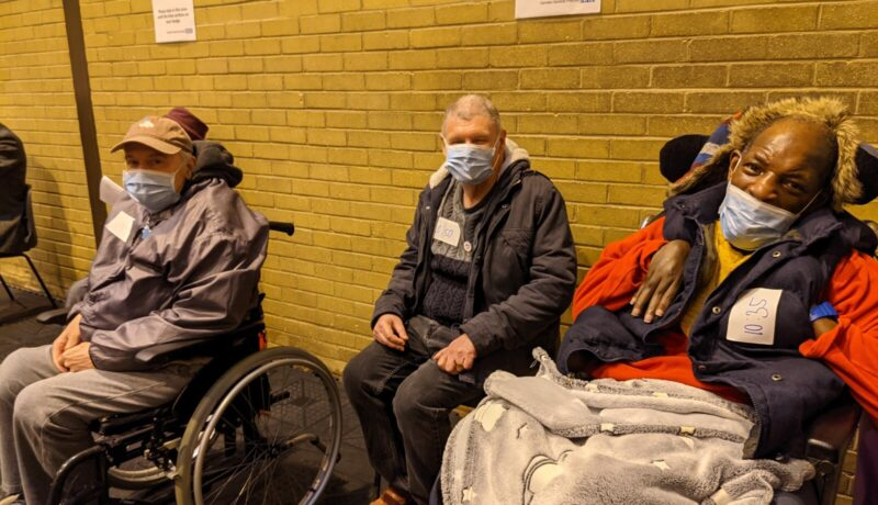 Camden residents waiting at the vaccination centre